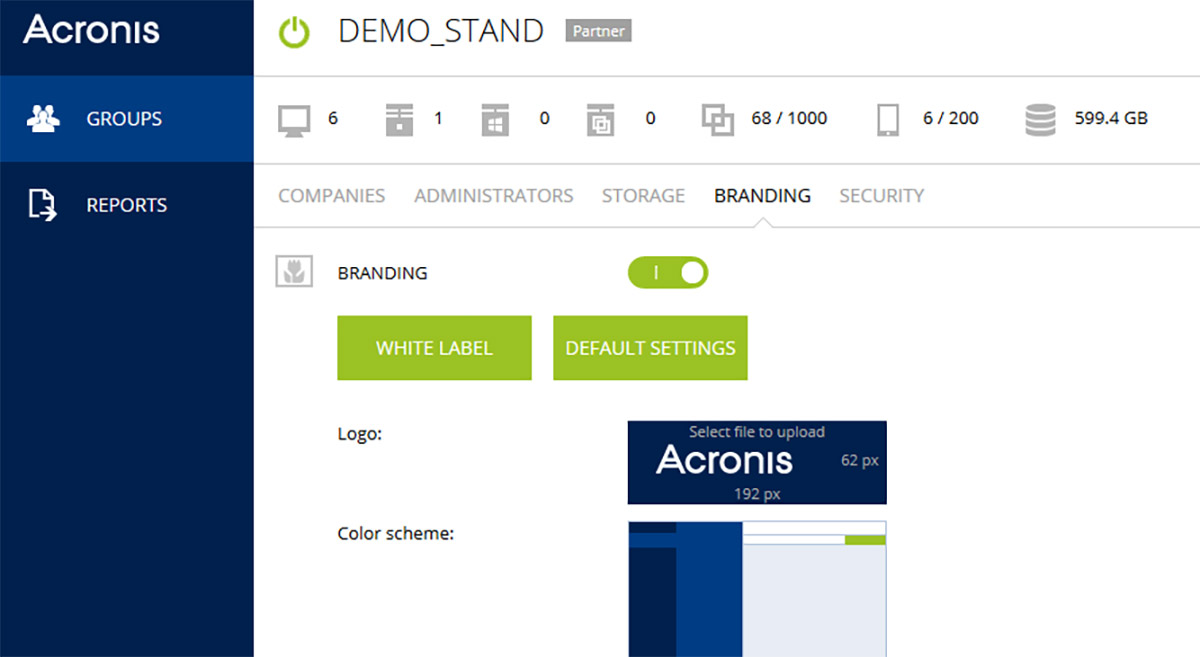 Acronis Backup Cloud management console can be easily rebranded with your own details