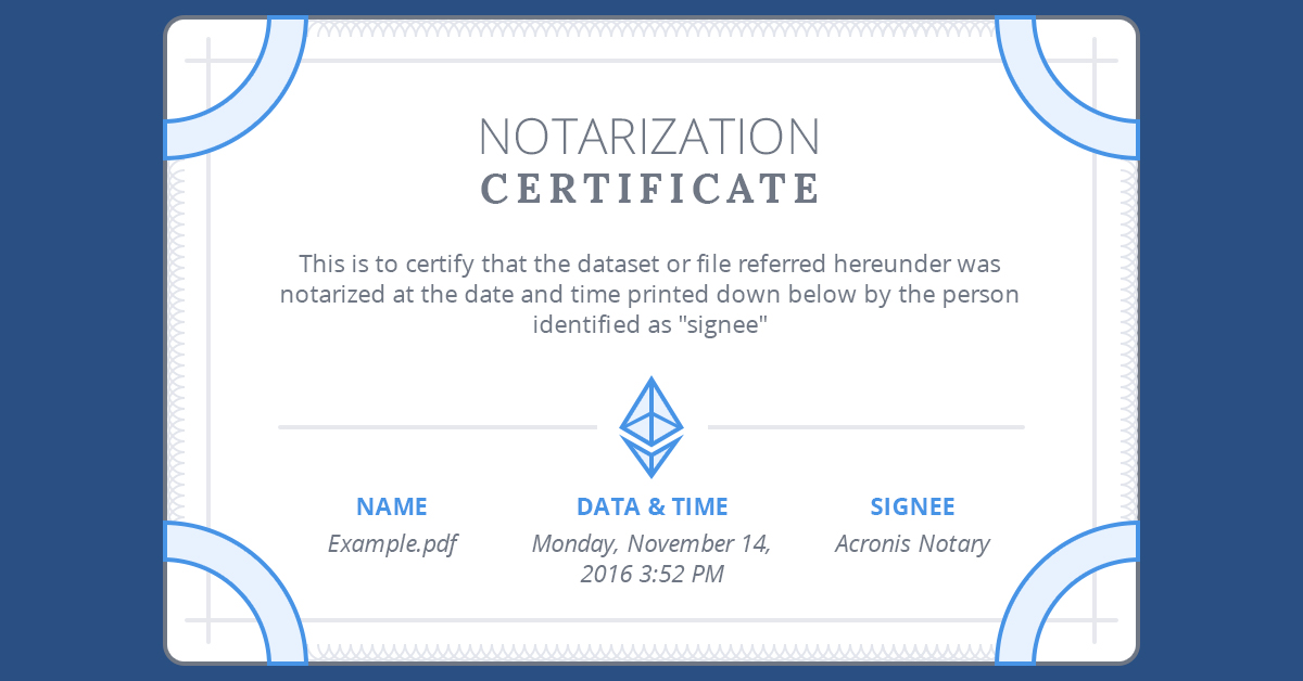 Acronis Notary Certificate