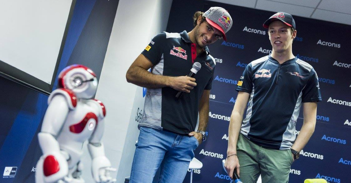 NAO robot in Acronis HQ with Toro Rosso drivers