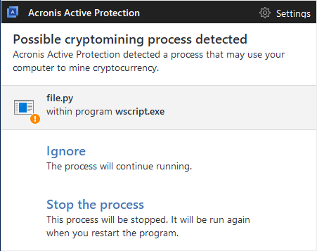 Acronis Active Protection detects cryptomining malware