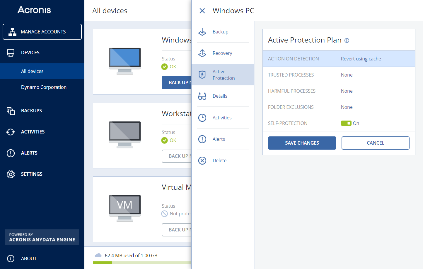Acronis Active Protection in Acronis Backup Cloud