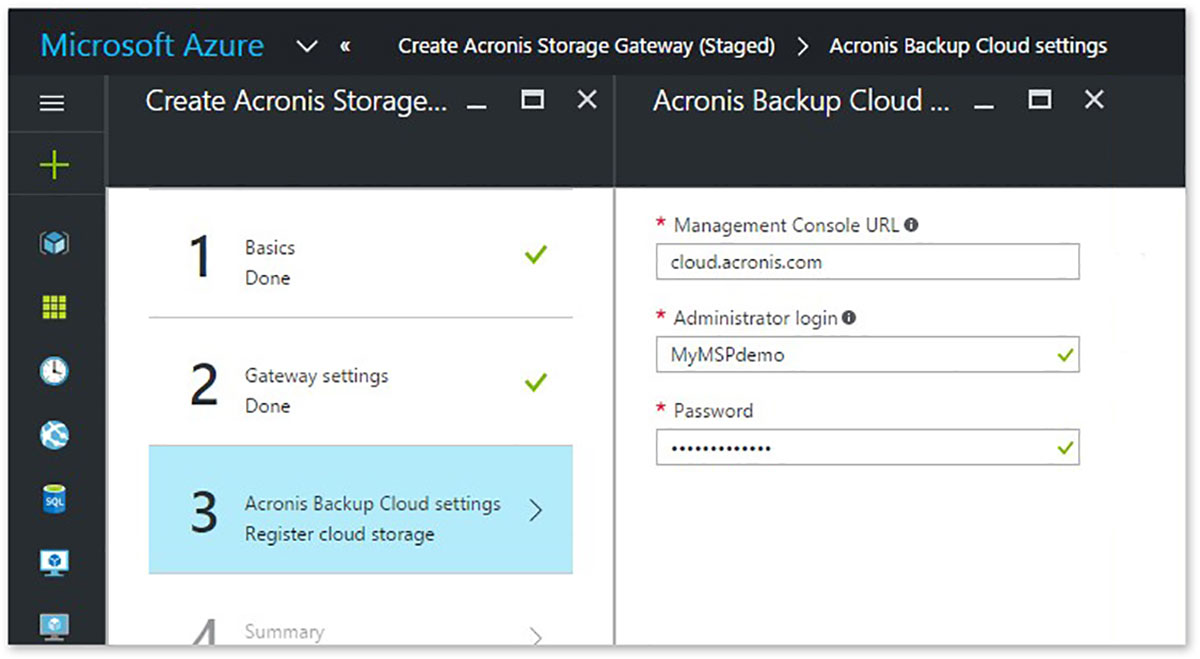 Acronis Storage Gateway solution template in Microsoft Azure