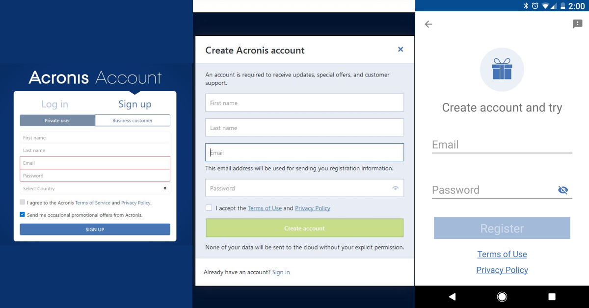 Acronis accounts sign up form (from left to right): web, Acronis True Image desktop app, Android mobile app.