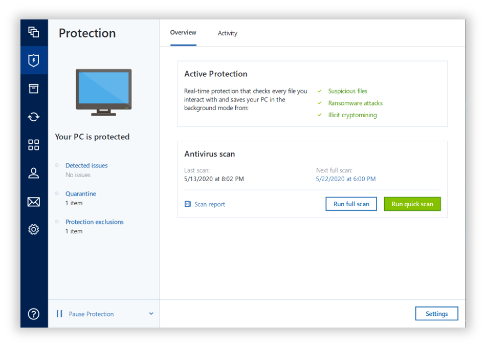 Acronis True Image antimalware protection stops all cyberthreats