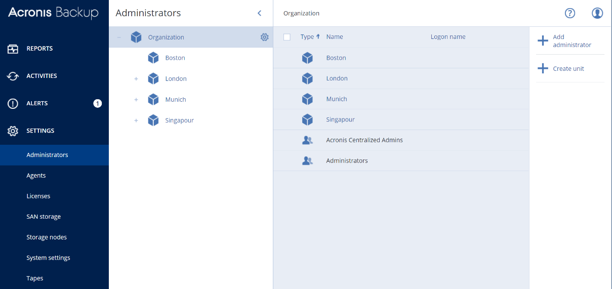 Acronis Backup 12.5 Admin roles and delegations