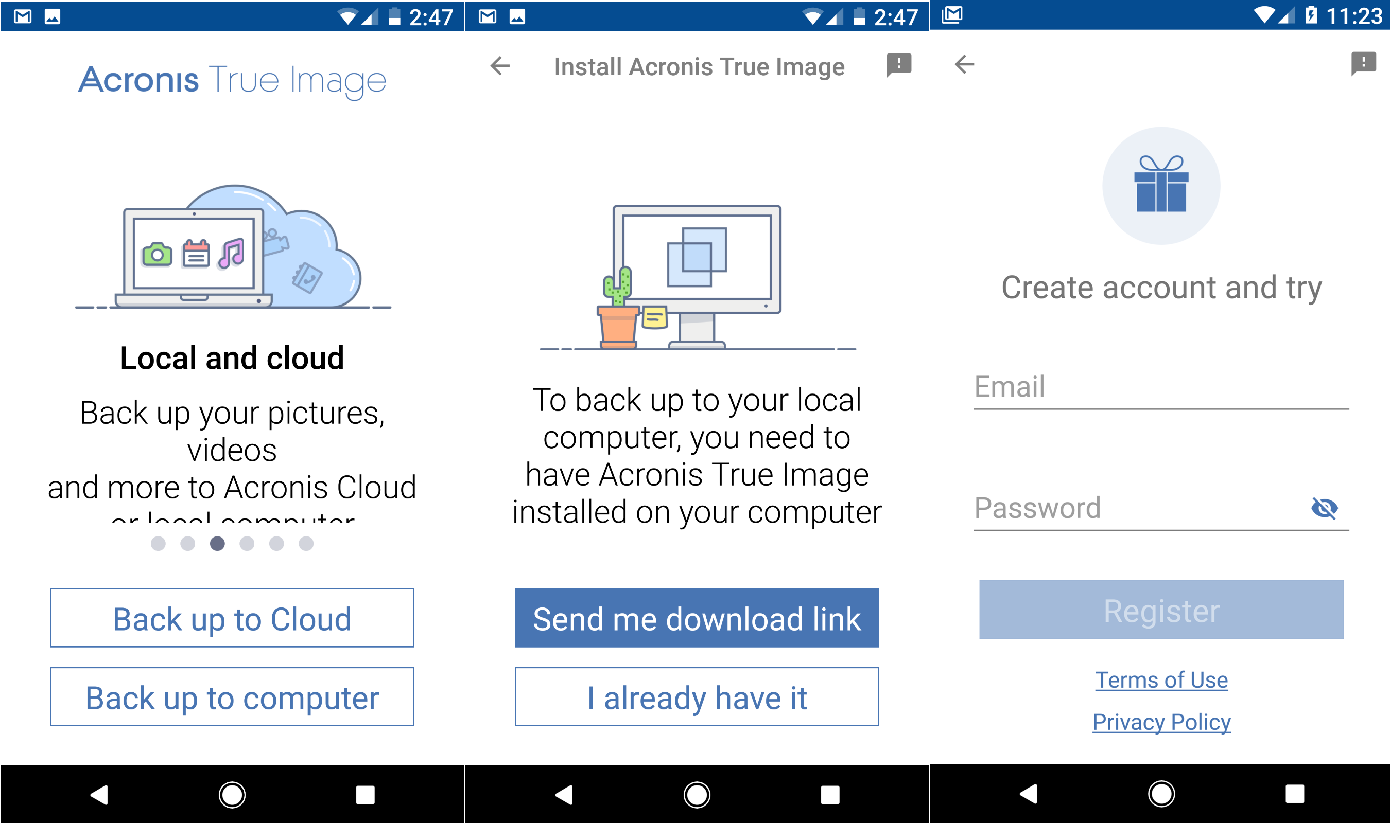 Install Acronis True Image app Android and iPhone