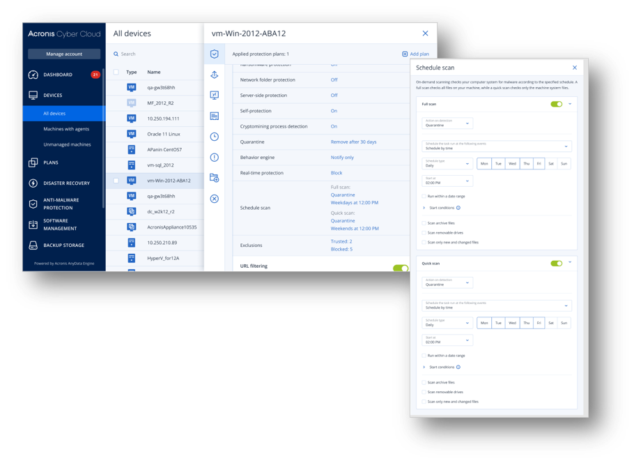 Anti-malware control for Acronis Cyber Protect
