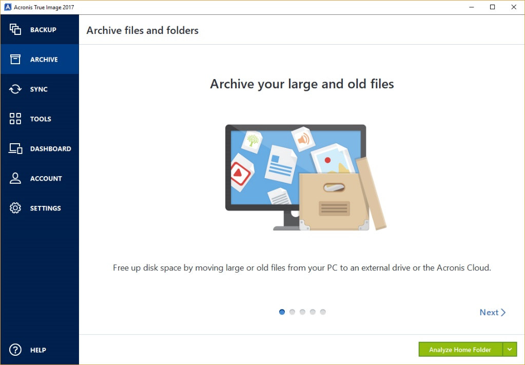 Acronis Archiving - files and folders