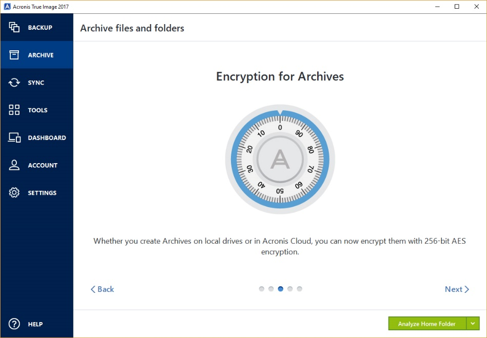 Acronis Archiving - encryption