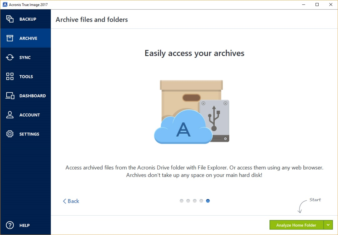 Acronis Archiving - easy access