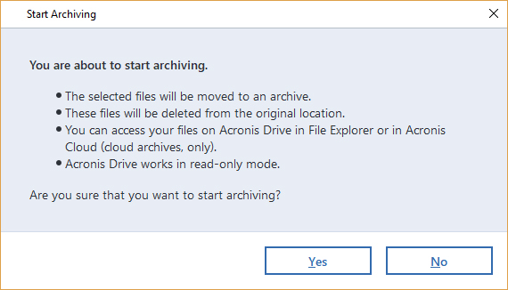 Acronis Archiving - start