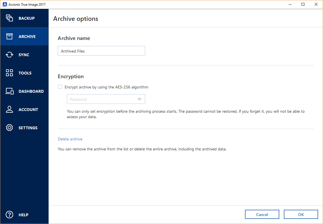 Acronis Archiving Options