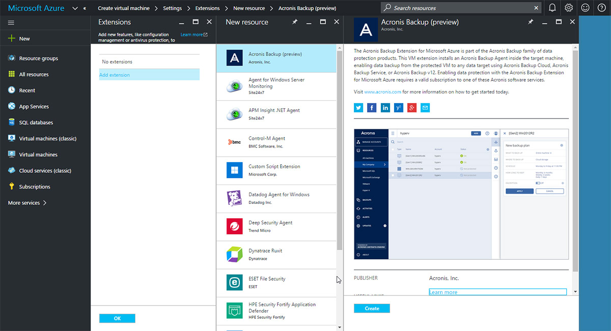 Microsoft Azure VMs can be easily protected with Acronis Backup 12.