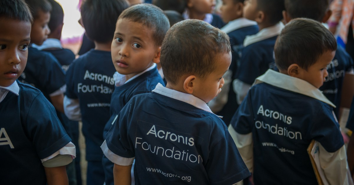 Cambodian children at their new school, built by the Acronis Foundation