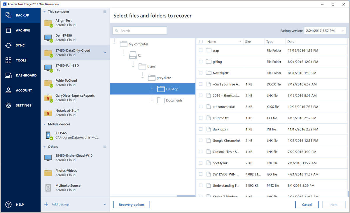 View and manage files backed up to the Acronis Cloud directly within the native Windows or Mac user interface without having to open a browser window