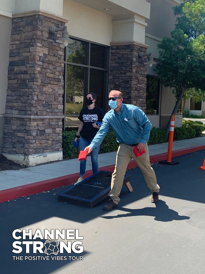 Channel Strong and Mythos Technology meet over cornhole