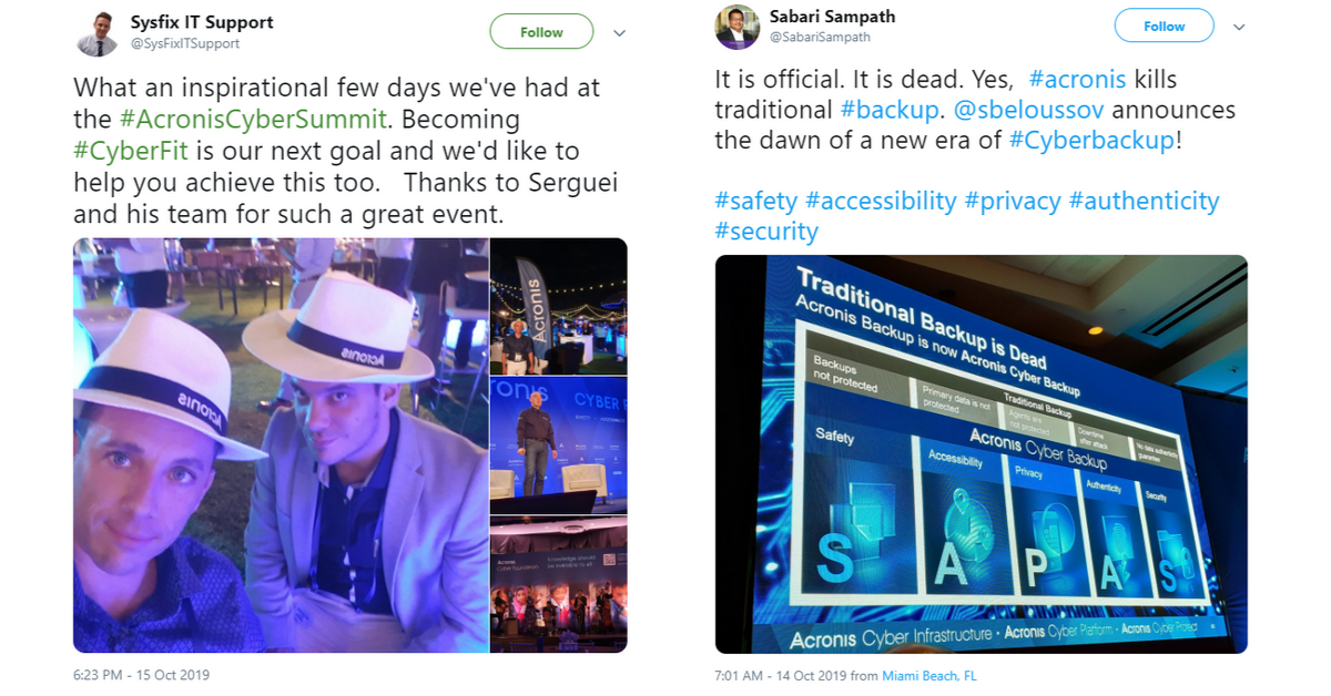 Reactions from the Acronis Global Cyber Summit