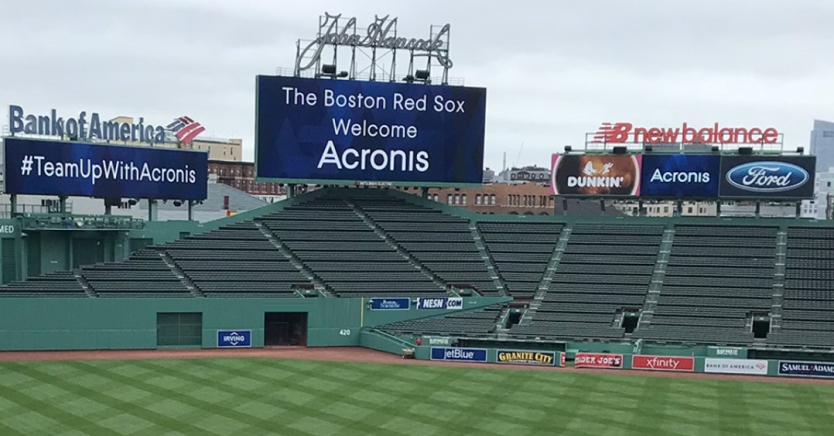 Acronis banners flying in the historic Fenway Park