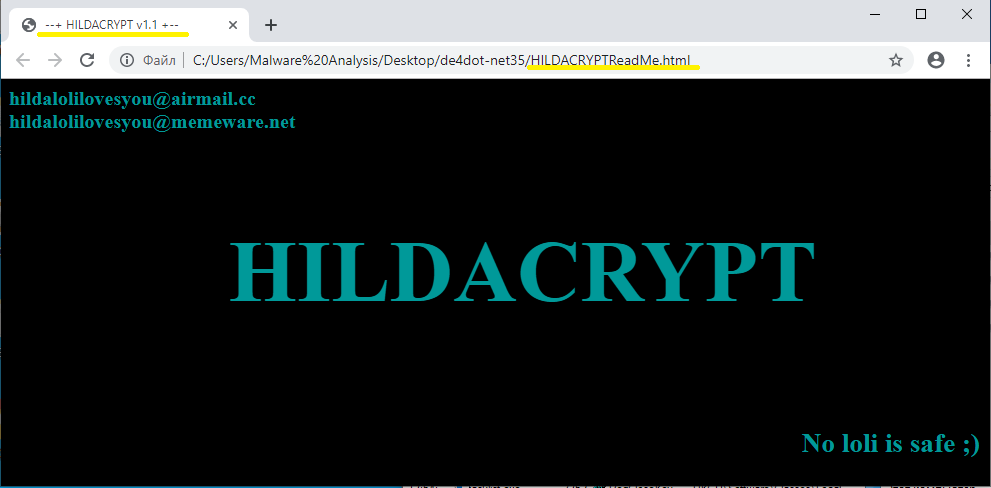 HILDACRYPT ransom note