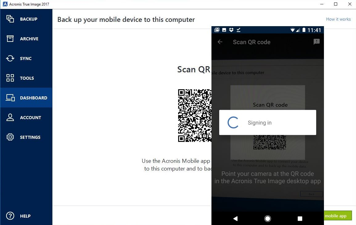 Pair smartphone to Acronis True Image with QR Code