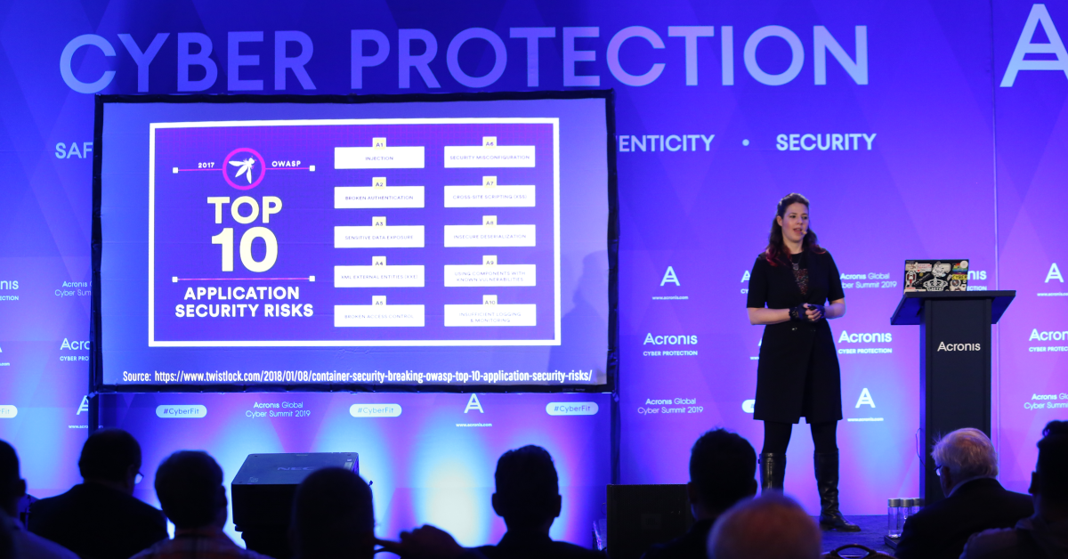 Keren Elazari addresses the Acronis Global Cyber Summit