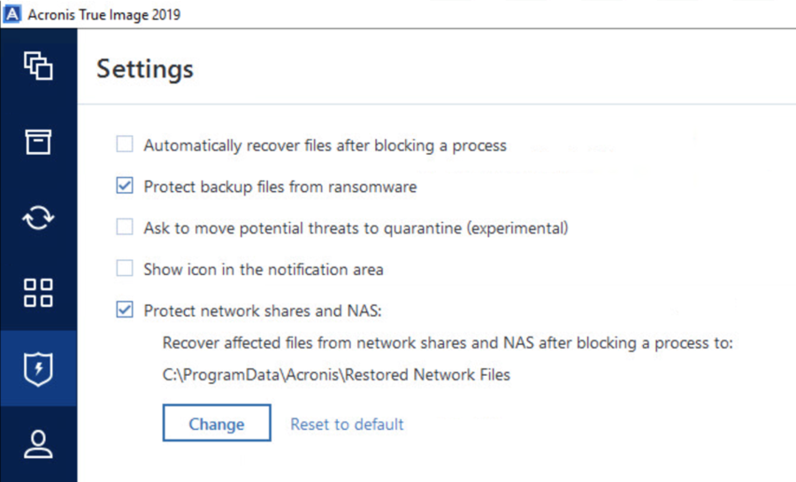 Anti-ransomware network share settings