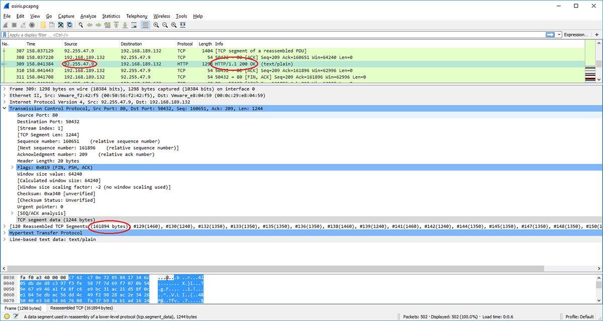 Wireshark screenshot showing the downloaded payload size of 161894 bytes. IP 92.255.47.9 potentially belongs to the pool of Osiris C&C IP addresses.