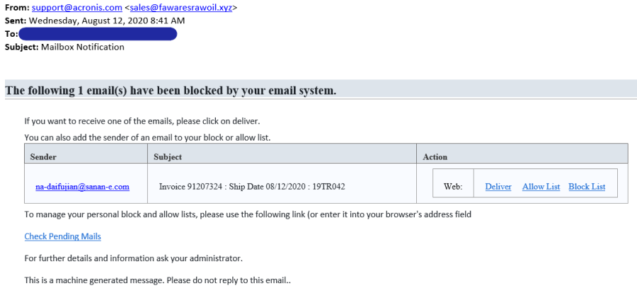 Example of spear phishing email