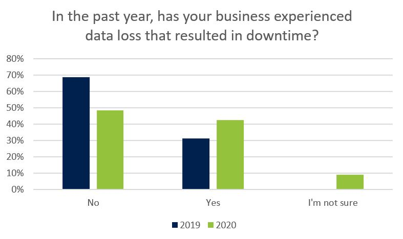 Has you business experienced data loss resulting in downtime this year?