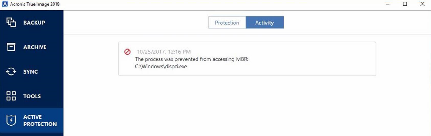 Acronis protects MBR from ransomware