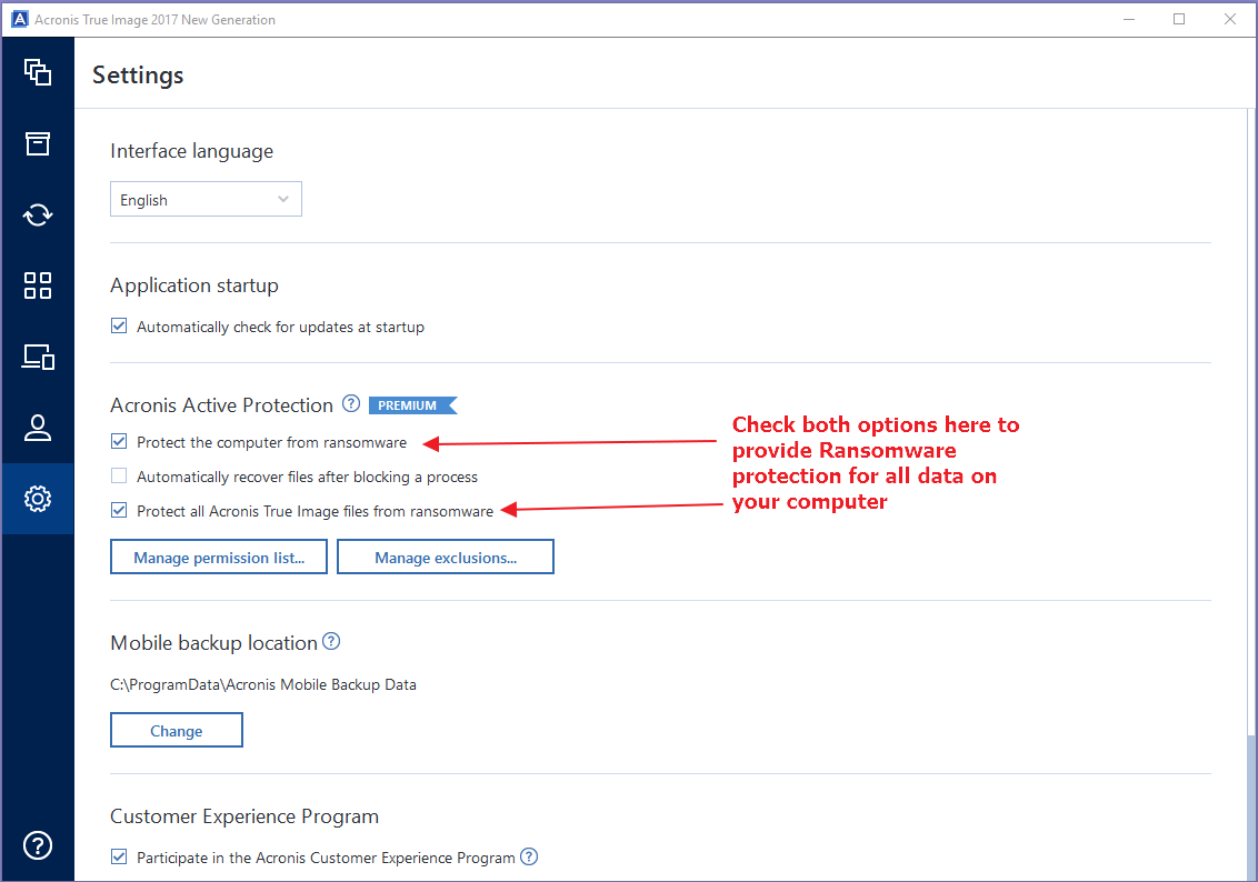 Acronis Active Protection Options