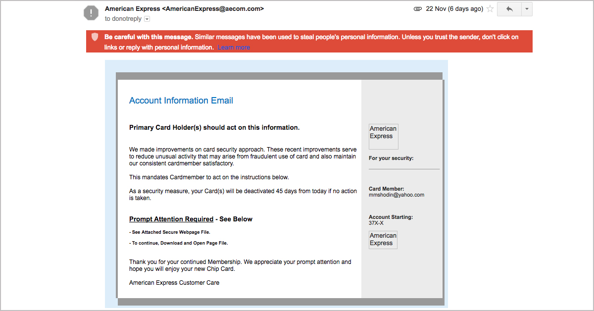 Ransomware email caught by Gmail spam filter
