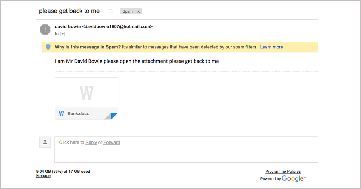 Another ransomware email caught by Gmail spam filter