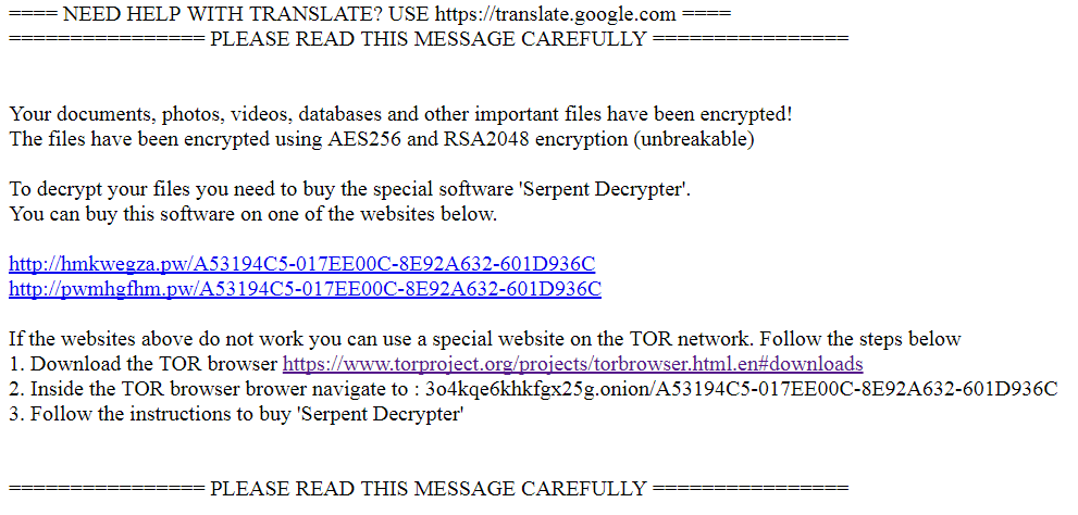 Serpent ransomware Ransom note