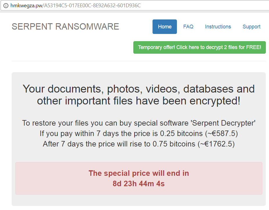Serpent ransomware Decryption service