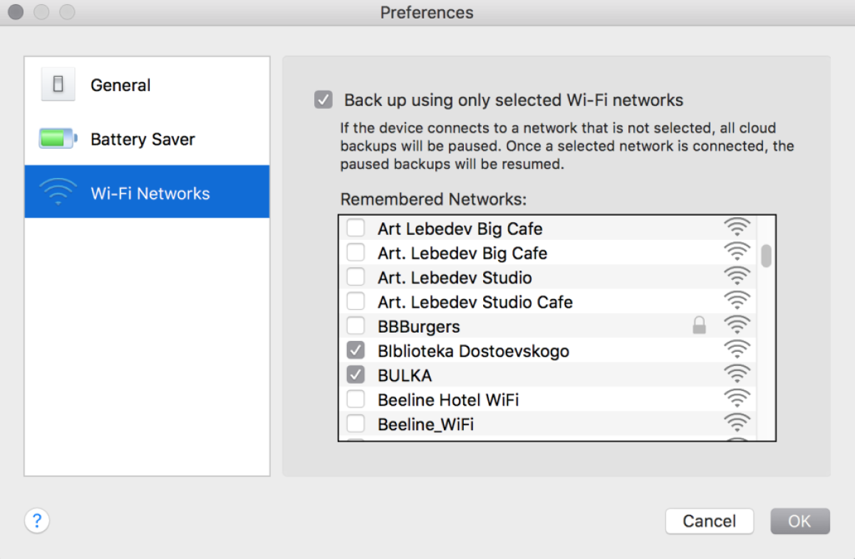 Select Wi-Fi for backups