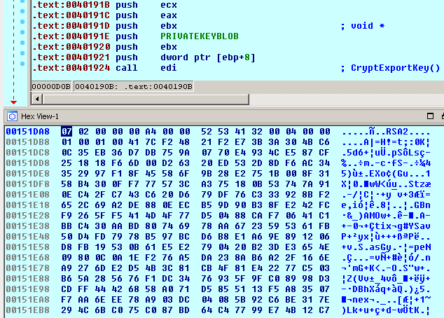 RSA-1024 key is exported
