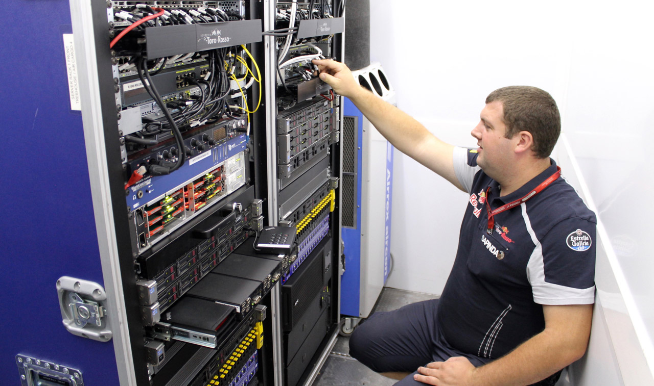 Server racks inside Scuderia Toro Rosso's portable datacenter