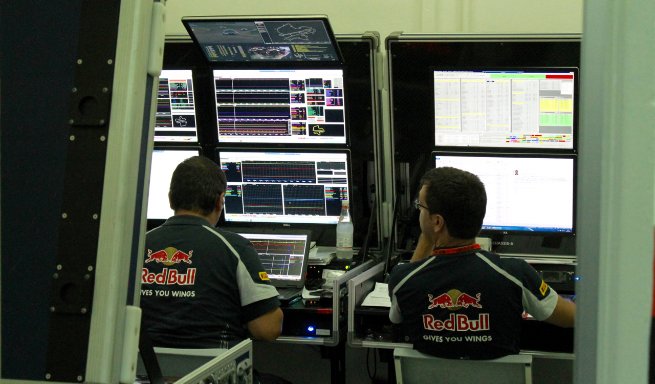 Scuderia Toro Rosso's racetrack engineers are busy analyzing the telemetry data