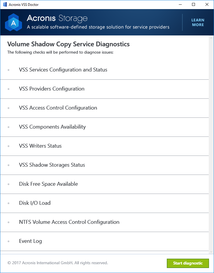 Acronis VSS Doctor Start diagnostic
