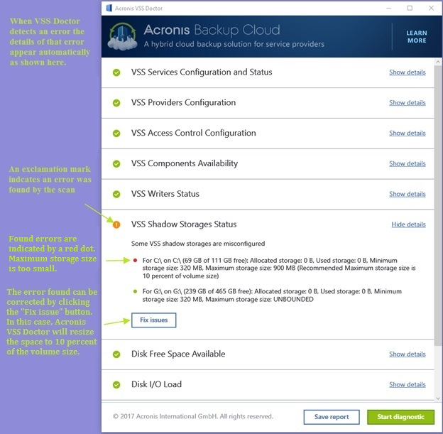 Acronis VSS Doctor Fix issues