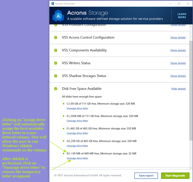 Acronis VSS Doctor Assign drive letter