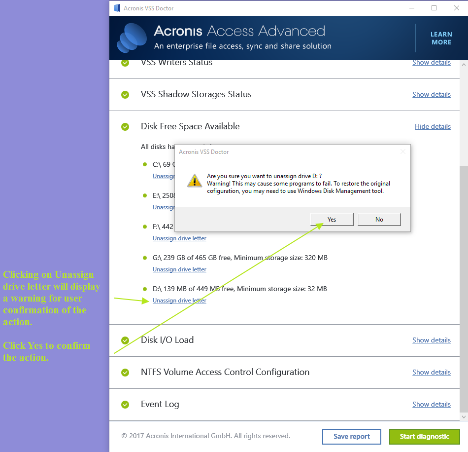 Acronis VSS Doctor Unassign drive letter