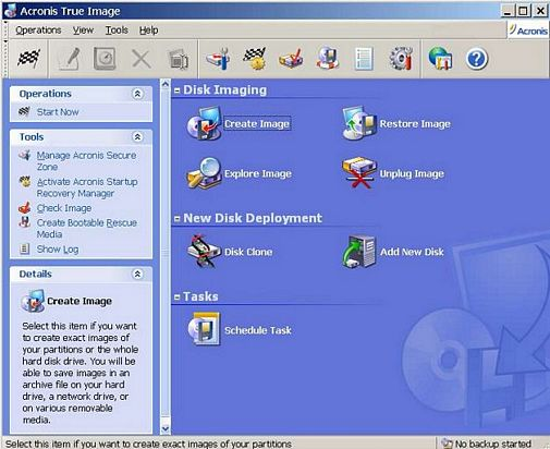 Acronis True Image Main Control Screen