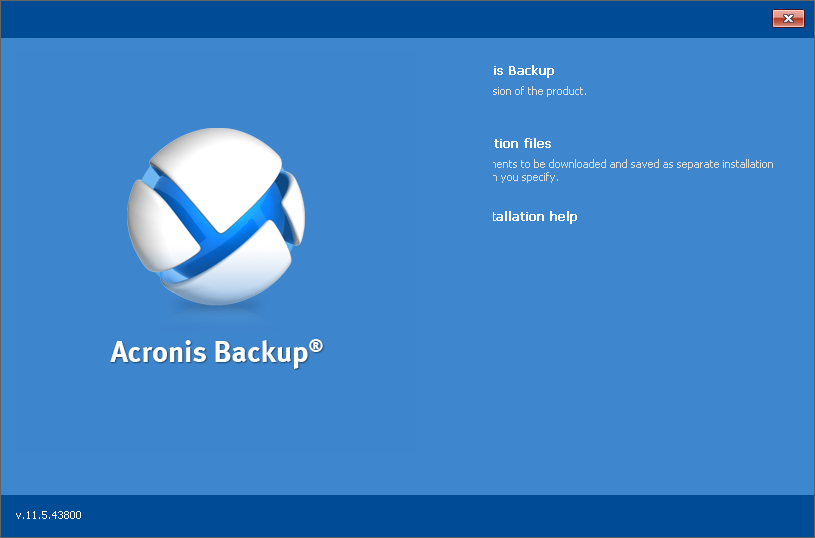 Click to view Acronis Backup Universal License 11.7.0.44190 screenshot