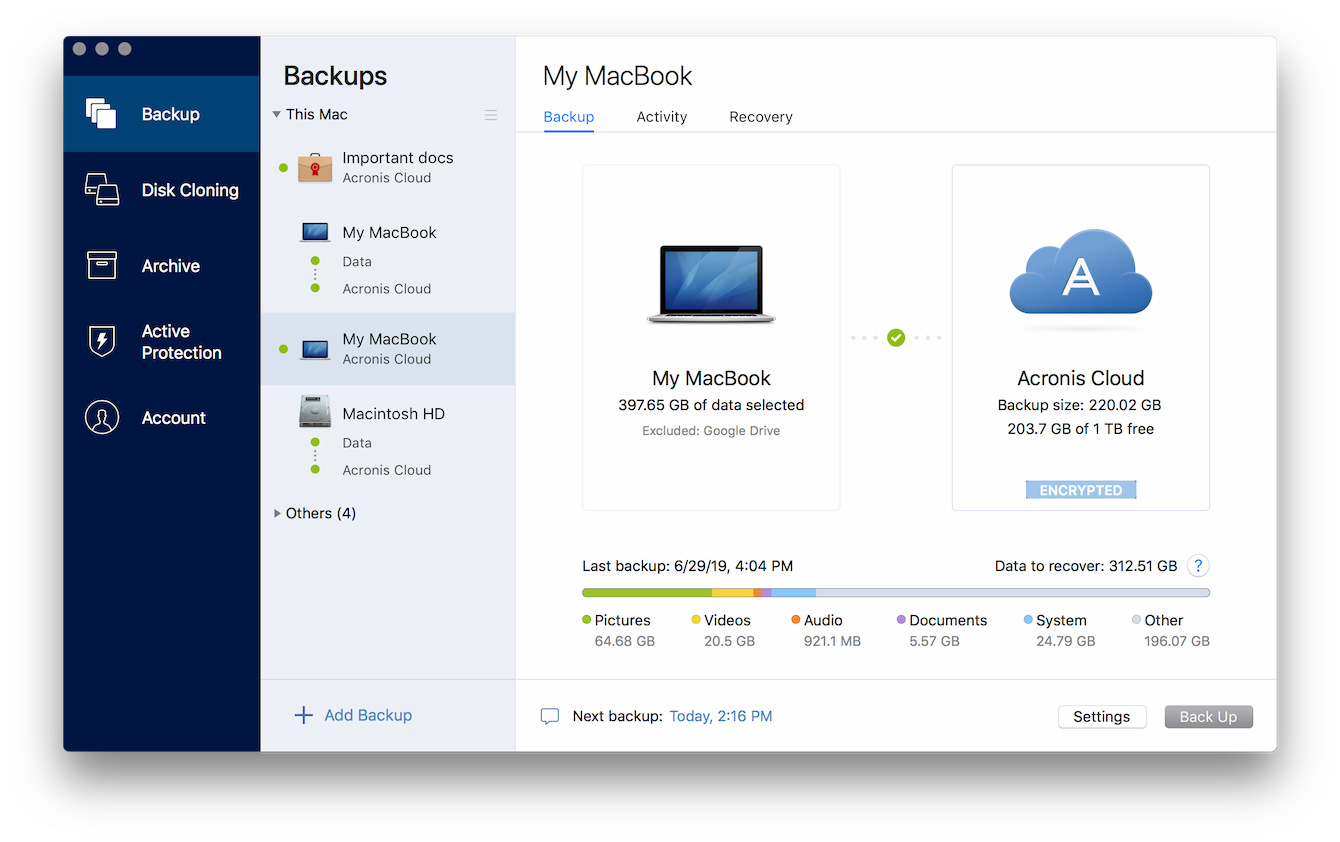 Acronis True Image for Mac 2020.22510