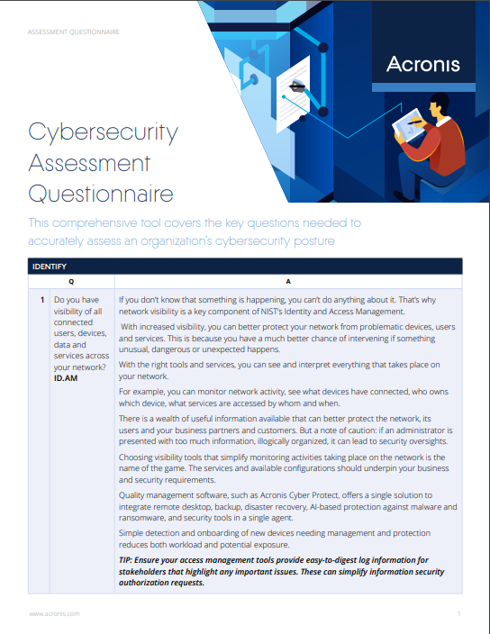 Cybersecurity Assessment Questionnaire - 2020 Edition