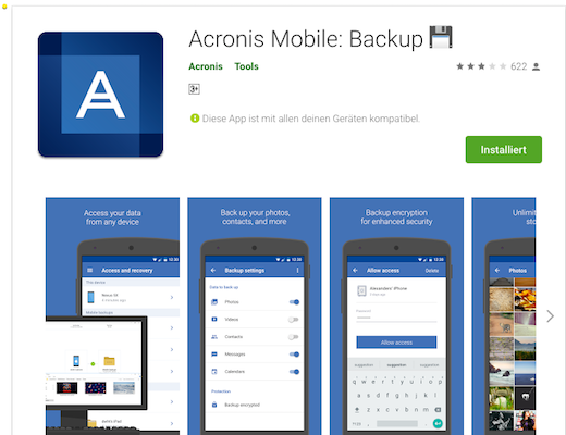 Acronis Mobile Backup App