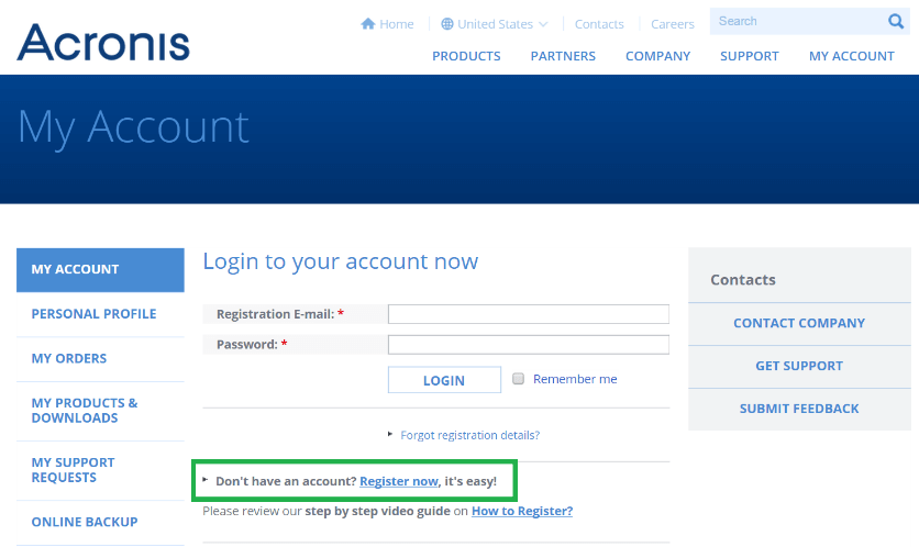 Acronis - My Account